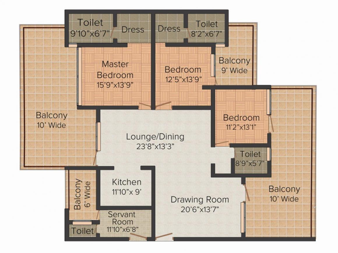 Laureate Parx Laureate Floor Plan: 3 BHK Unit with Built up area of 3195 sq.ft 1