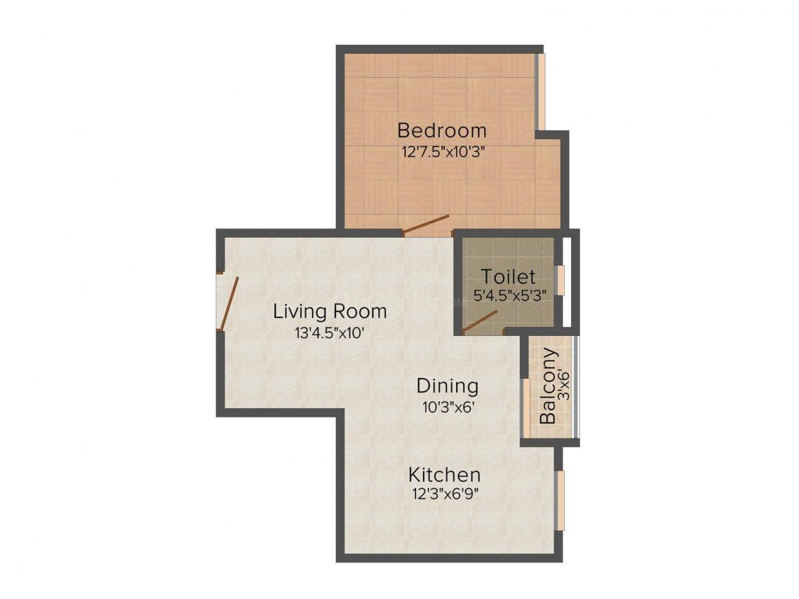 Shree Neel White Petals Floor Plan: 1 BHK Unit with Built up area of 592 sq.ft 1