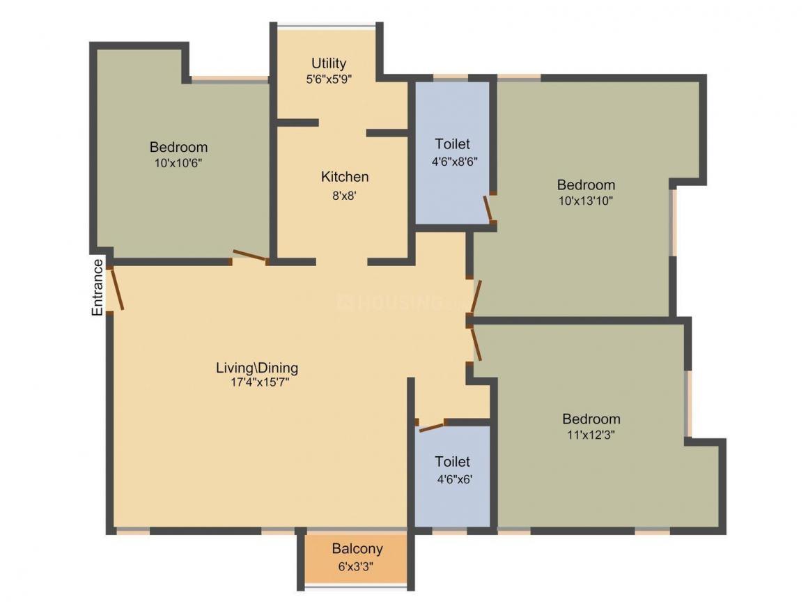 Redbrick Vanaja Floor Plan: 3 BHK Unit with Built up area of 1322 sq.ft 1