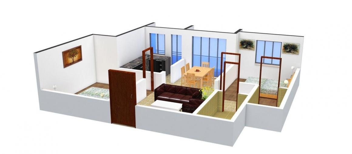 Sri Balaji Galaxy  Floor Plan: 2 BHK Unit with Built up area of 749 sq.ft 1