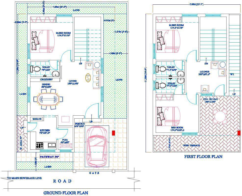 Praneeth Pranav Homes Floor Plan: 3 BHK Unit with Built up area of 1539 sq.ft 1