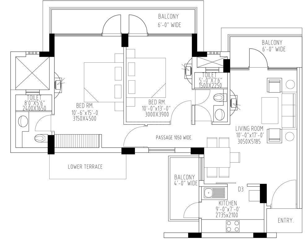 TDI Kingsbury Apartments Floor Plan: 2 BHK Unit with Built up area of 1110 sq.ft 1