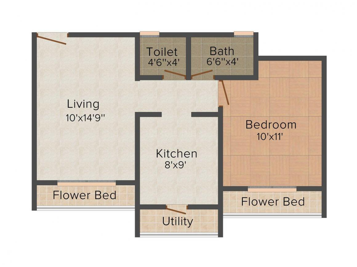Cosmos Empress Park Floor Plan: 1 BHK Unit with Built up area of 421 sq.ft 1