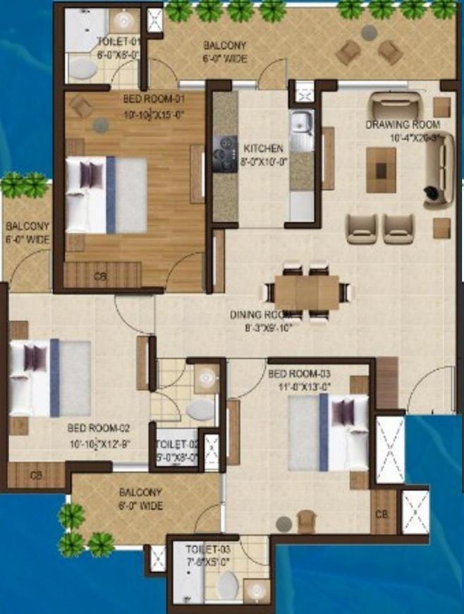 Motia Blue Ridge Floor Plan: 3 BHK Unit with Built up area of 963 sq.ft 1