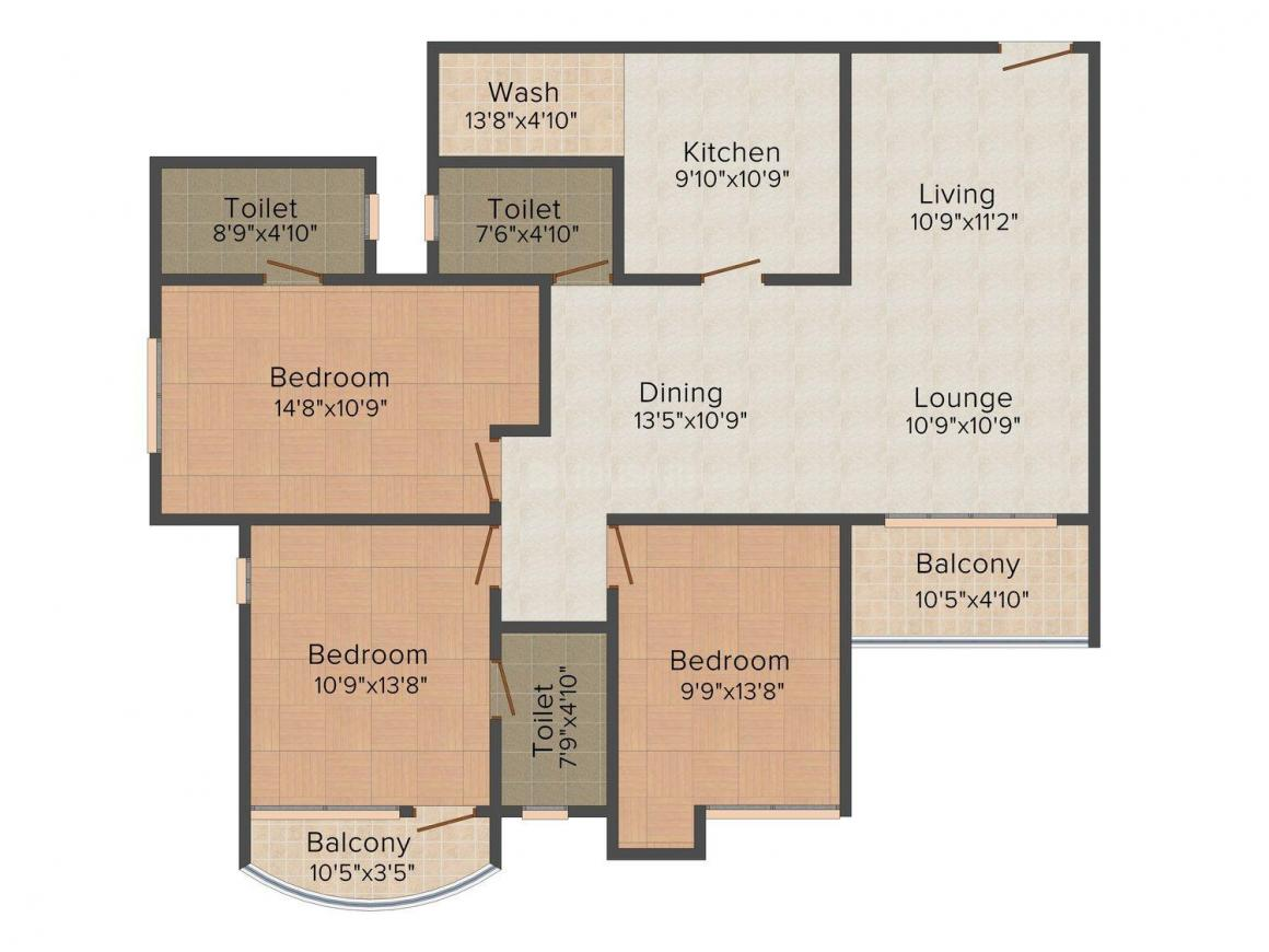 Floor Plan Image of 1362.0 - 1772.0 Sq.ft 2 BHK Apartment for buy in Olive Cressida Tower III