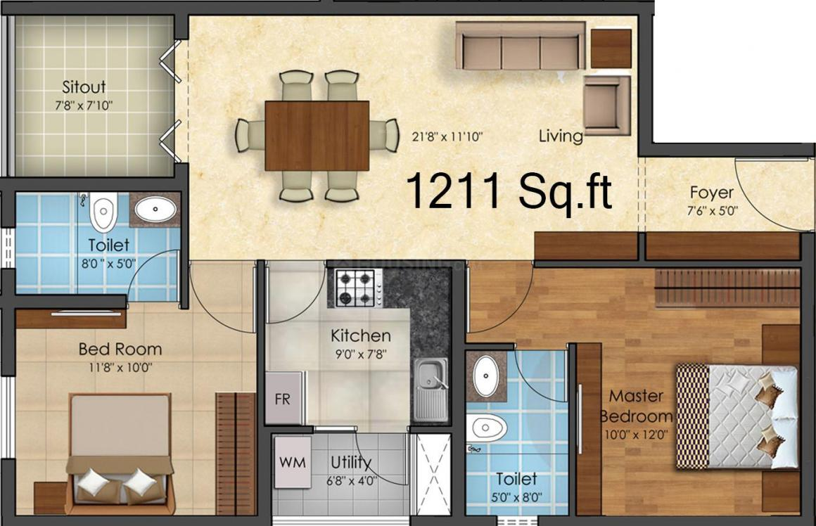 Adroit House of Ambal Floor Plan: 2 BHK Unit with Built up area of 736 sq.ft 1