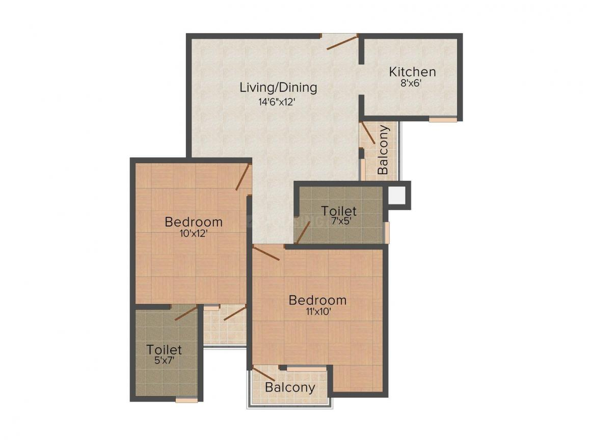 Floor Plan Image of 0 - 840 Sq.ft 2 BHK Apartment for buy in Sai Garden