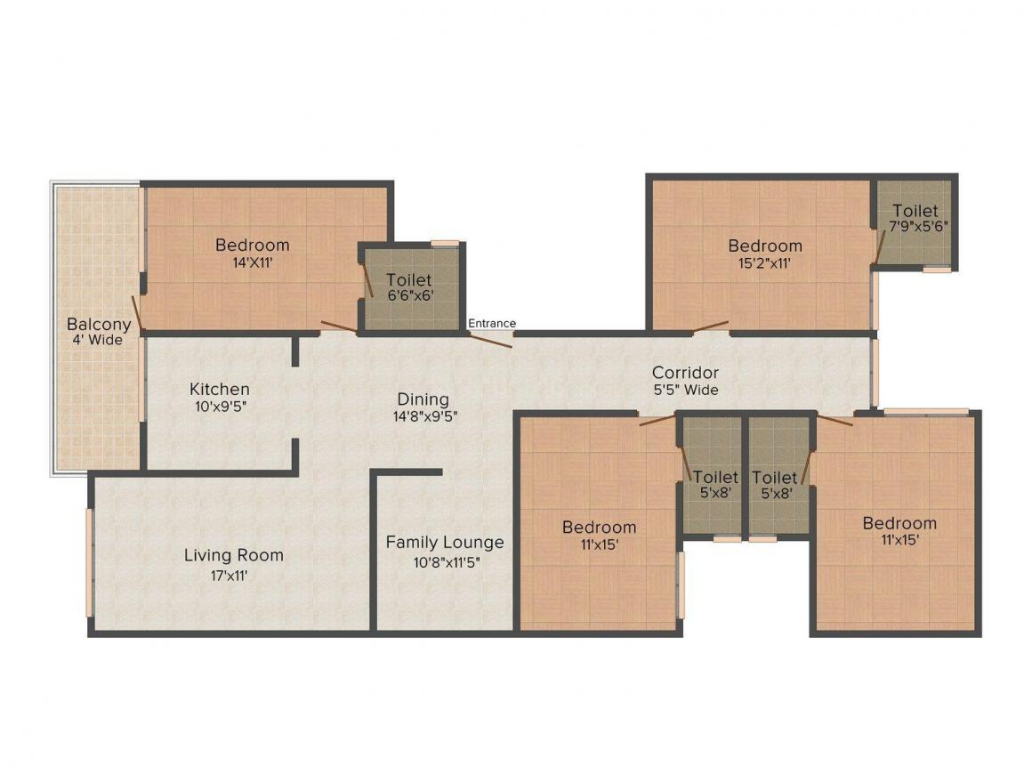 Parkview Floors Floor Plan: 4 BHK Unit with Built up area of 2210 sq.ft 1
