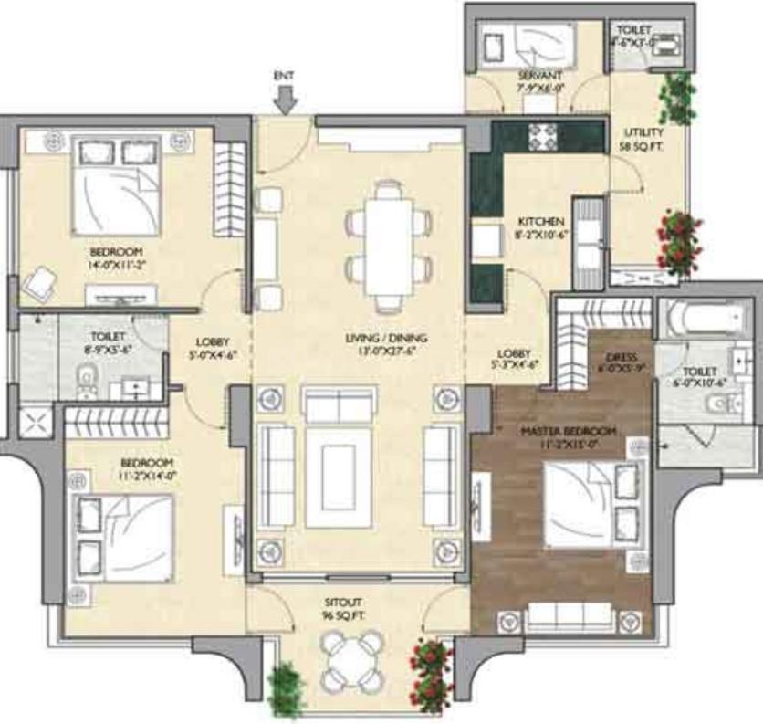 Vipul Aarohan Floor Plan: 3 BHK Unit with Built up area of 2000 sq.ft 1