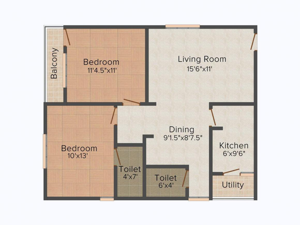 Floor Plan Image of 0 - 1000.0 Sq.ft 2 BHK Apartment for buy in Well Sai Harsha Arcade