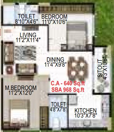 Amrutha Rama Platinum Towers Floor Plan: 2 BHK Unit with Built up area of 968 sq.ft 1