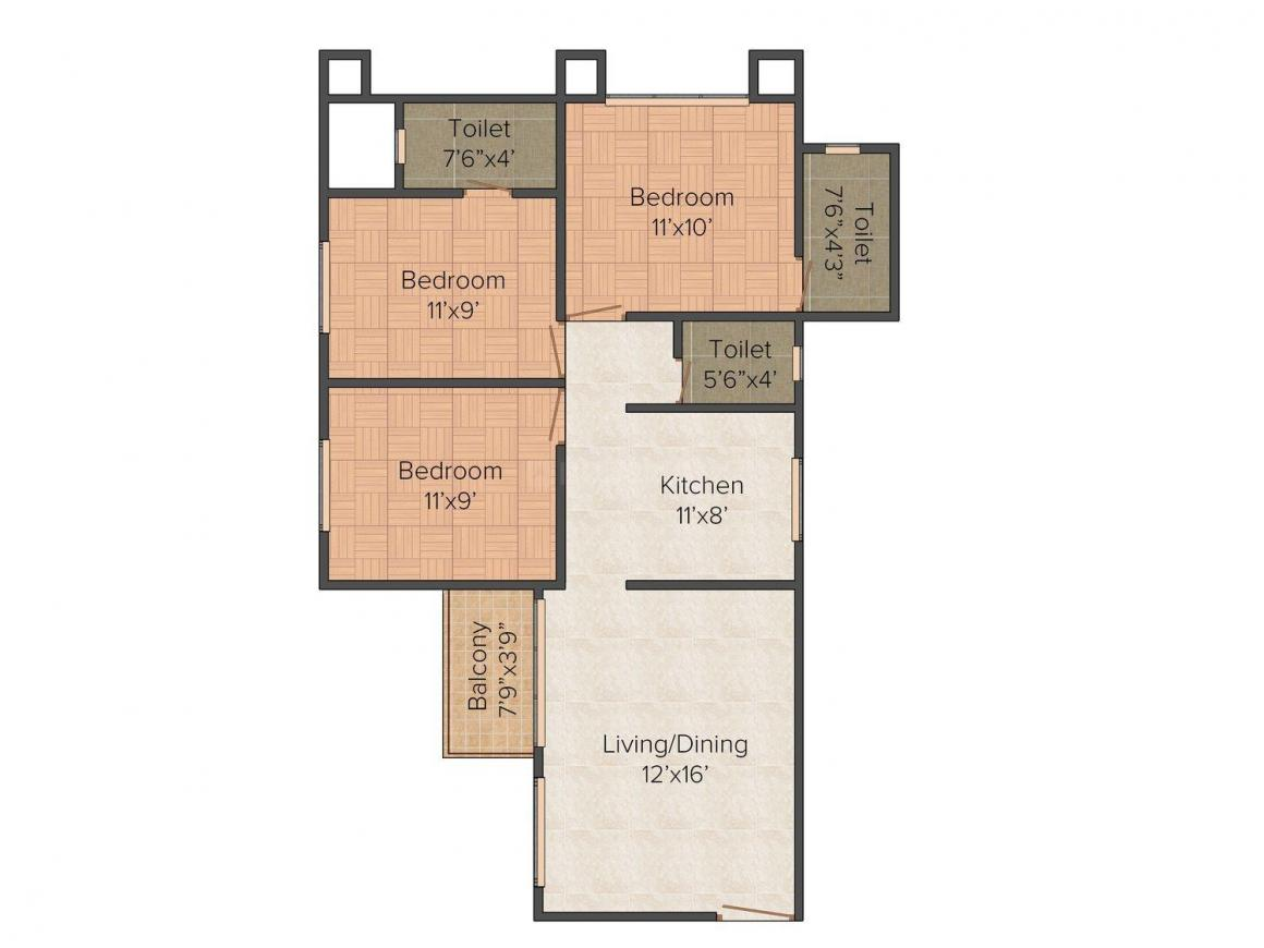 Nanda Apartment Floor Plan: 3 BHK Unit with Built up area of 901 sq.ft 1