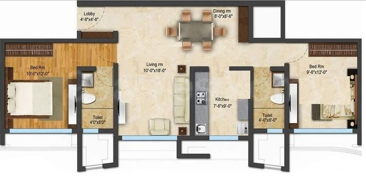 ACME Ozone Floor Plan: 2 BHK Unit with Built up area of 617 sq.ft 1