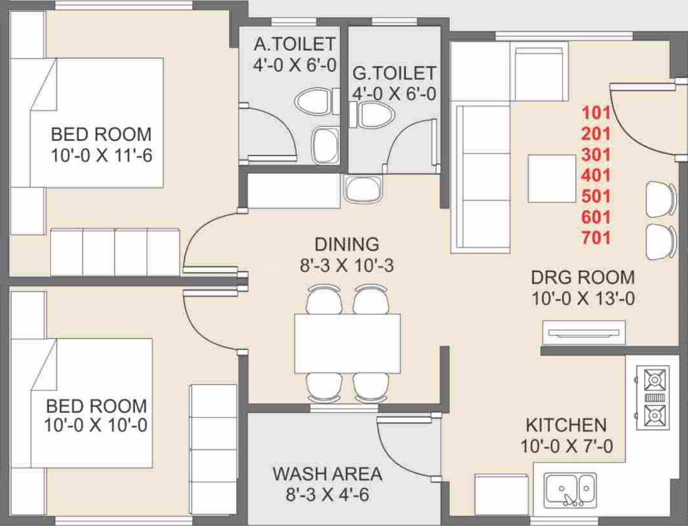 R V Shivalay Sky Floor Plan: 2 BHK Unit with Built up area of 562 sq.ft 1