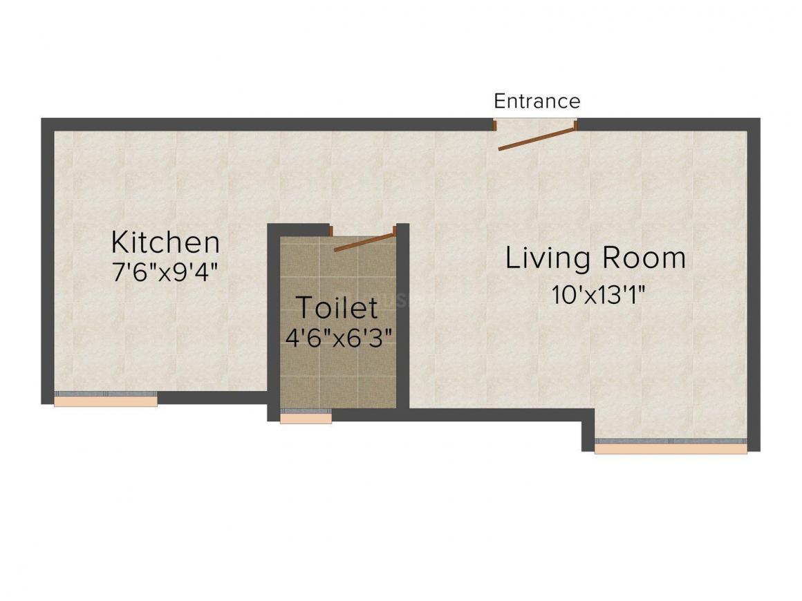 Floor Plan Image of 0 - 394 Sq.ft 1 RK Apartment for buy in Ekta Image Goldie Houses