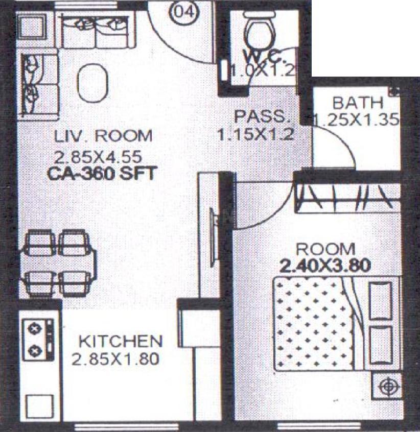 Floor Plan Image of 317.75 - 580 Sq.ft 1 BHK Apartment for buy in Baba Ekta Co Op HSG Society