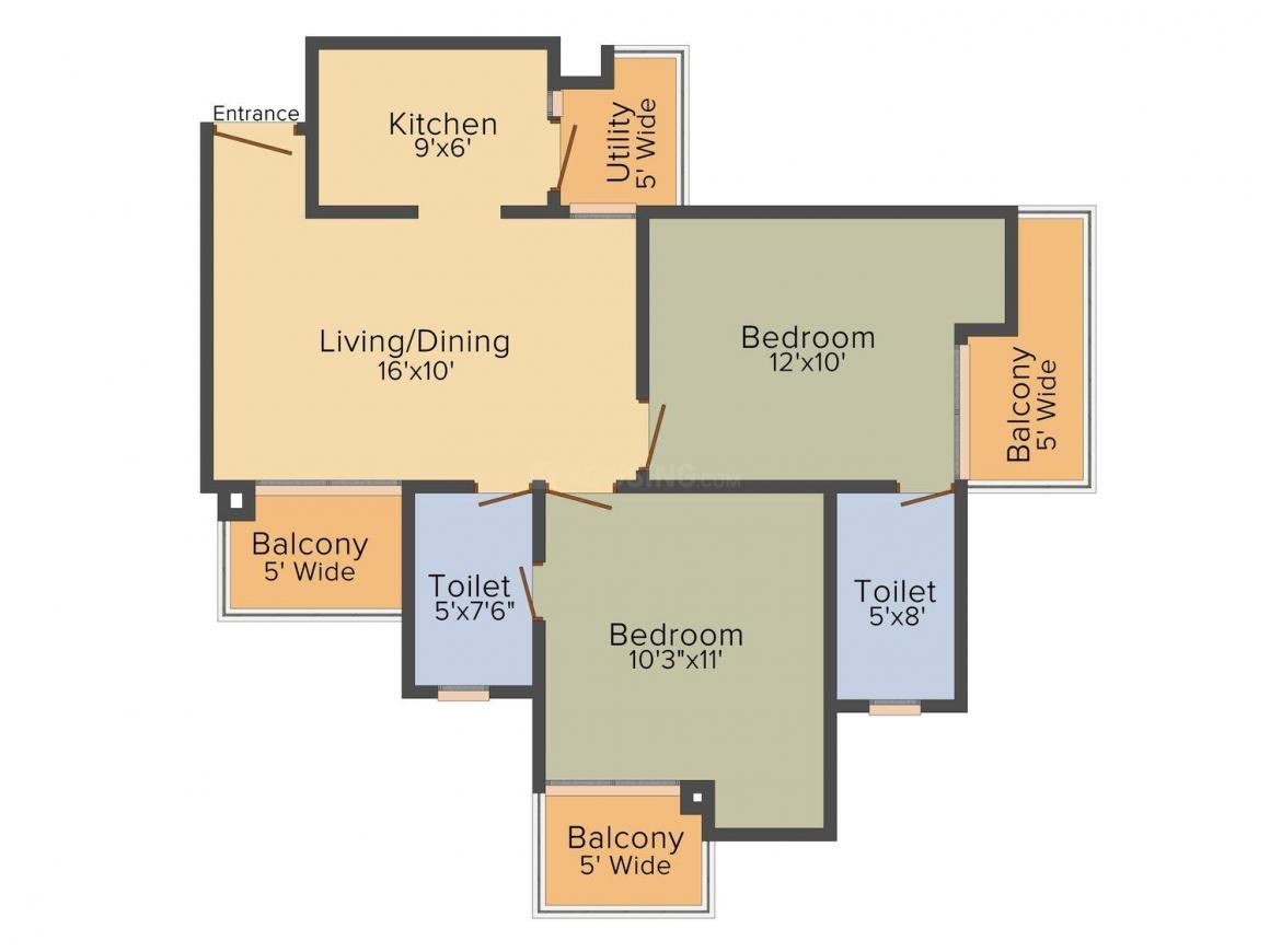 Floor Plan Image of 999.0 - 2313.0 Sq.ft 2 BHK Apartment for buy in Vyom Organic Golf Homes