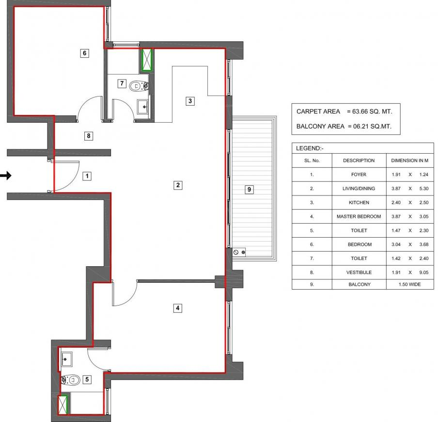 Vatika Turning Point Floor Plan: 2 BHK Unit with Built up area of 685 sq.ft 1