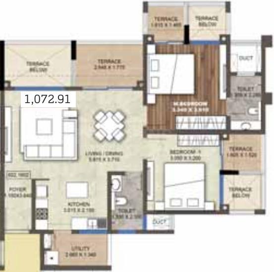 Puravankara Purva Silversands Floor Plan: 2 BHK Unit with Built up area of 1073 sq.ft 1