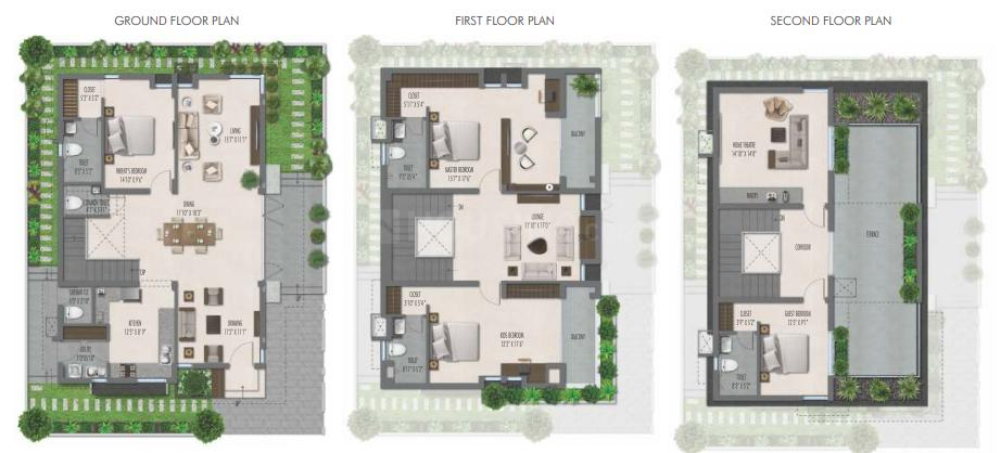 GKRS Palacio Floor Plan: 4 BHK Unit with Built up area of 3083 sq.ft 1