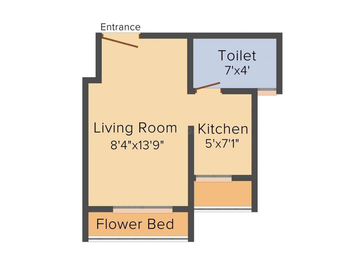 Floor Plan Image of 0 - 475.0 Sq.ft 1 BHK Studio Apartment for buy in Thakur Enclave