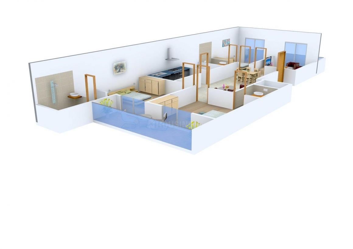 Navalakha Aashirwad Homes Floor Plan: 3 BHK Unit with Built up area of 1532 sq.ft 1