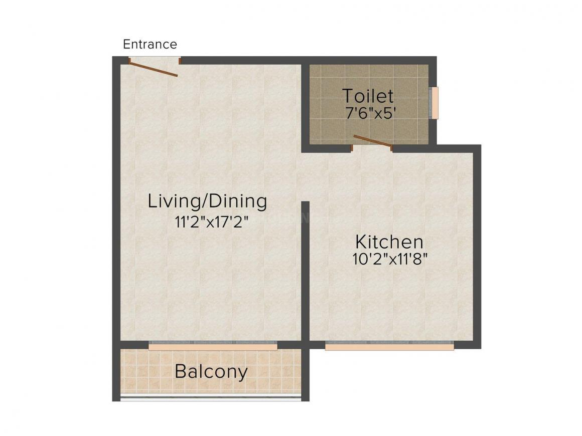 Floor Plan Image of 530 - 850 Sq.ft 1 RK Studio Apartment for buy in Green Acres Club & Resorts