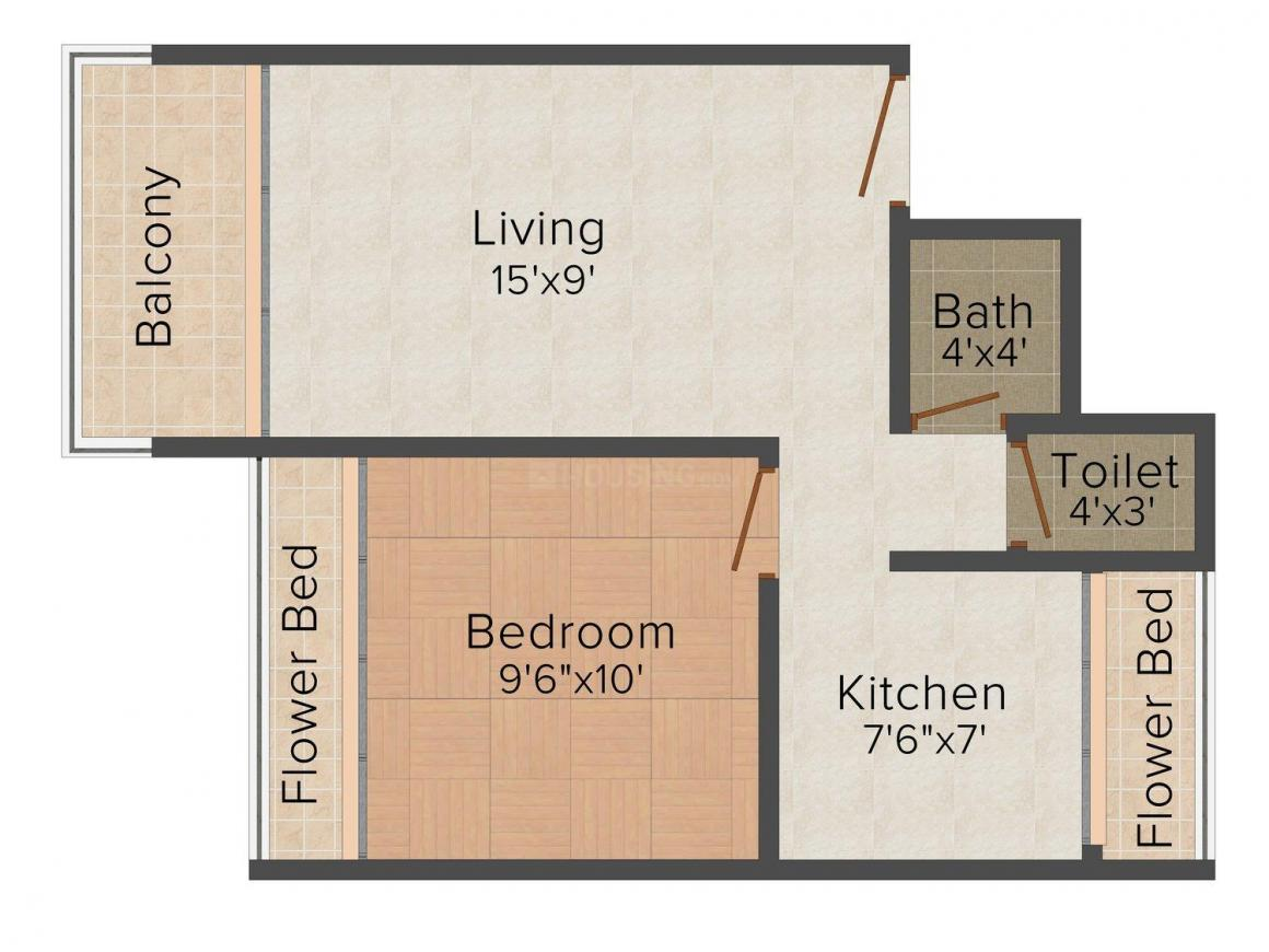 Floor Plan Image of 670.0 - 1040.0 Sq.ft 1 BHK Apartment for buy in Platinum Regalo