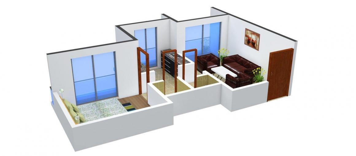 Floor Plan Image of 690.0 - 1125.0 Sq.ft 1 BHK Apartment for buy in Gajra Bhoomi Gardenia