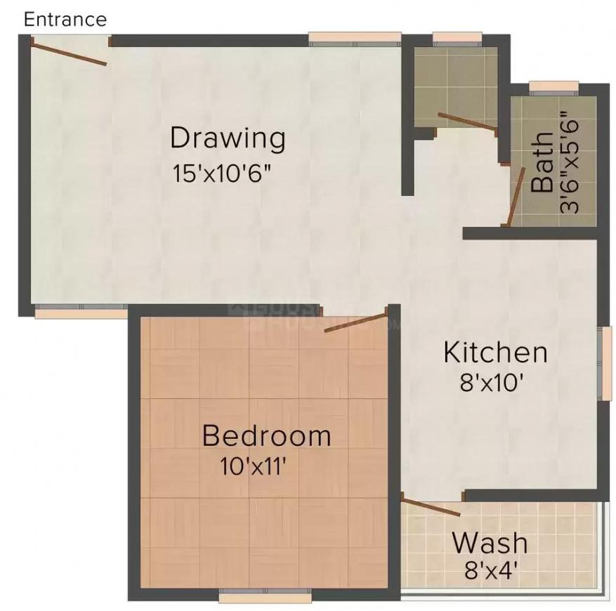 Shayona Residency Floor Plan: 1 BHK Unit with Built up area of 720 sq.ft 2
