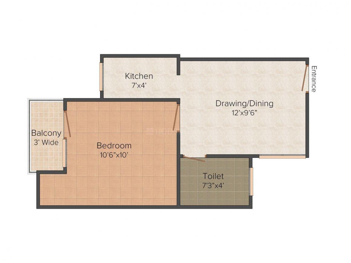 Floor Plan Image of 500 - 750 Sq.ft 1 BHK Independent Floor for buy in Jai Hind Floors 2