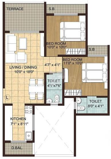 Wellwisher Kiarah Terrazo Phase II Floor Plan: 2 BHK Unit with Built up area of 541 sq.ft 1