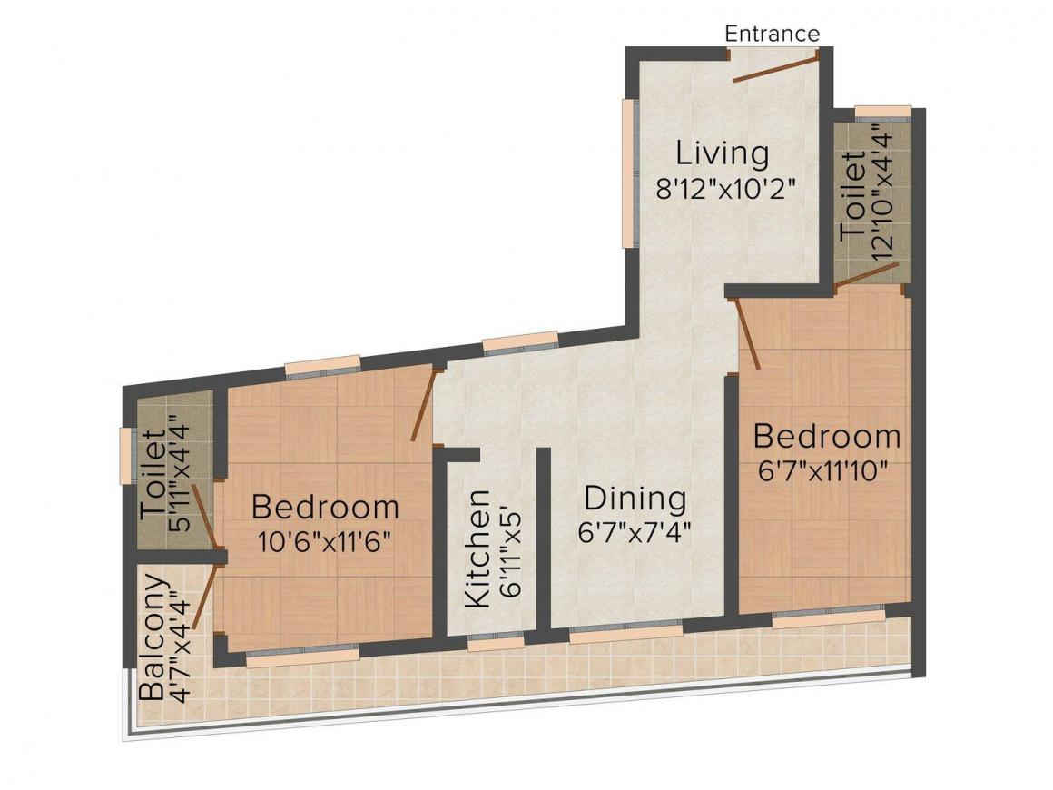 Floor Plan Image of 0 - 993.0 Sq.ft 2 BHK Apartment for buy in Lord Krishna Builders Arcade