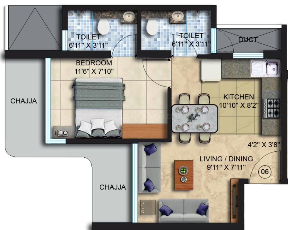 Countdown X  Floor Plan: 1 BHK Unit with Built up area of 344 sq.ft 1