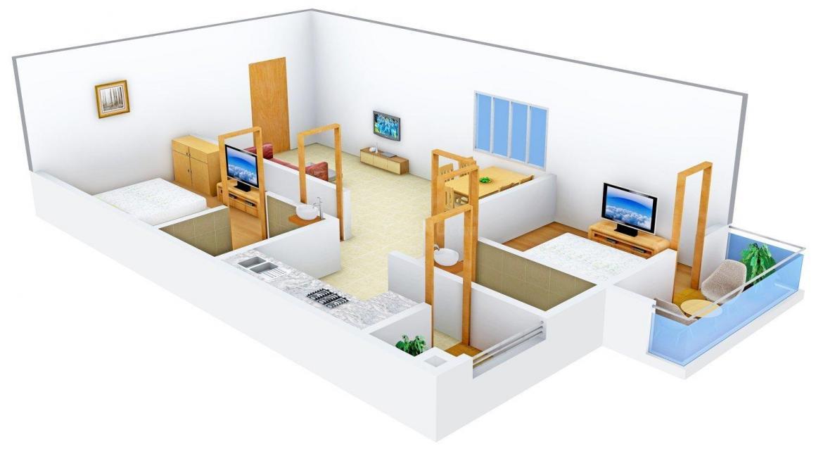 Floor Plan Image of 0 - 1000.0 Sq.ft 2 BHK Apartment for buy in Galaxy Padma Krupa