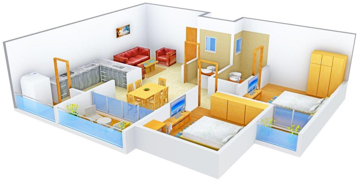 Floor Plan Image of 1351.0 - 2045.0 Sq.ft 2 BHK Apartment for buy in Milan Heights Apartments