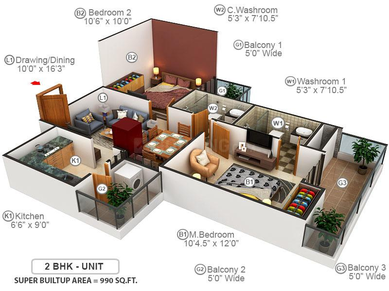Galaxy Royale Floor Plan: 2 BHK Unit with Built up area of 990 sq.ft 1