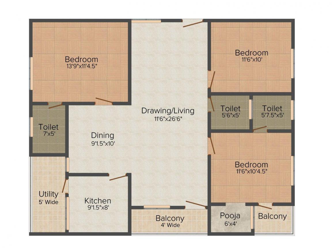 Floor Plan Image of 0 - 1525.0 Sq.ft 3 BHK Apartment for buy in Emarald Nirmala Nilayam