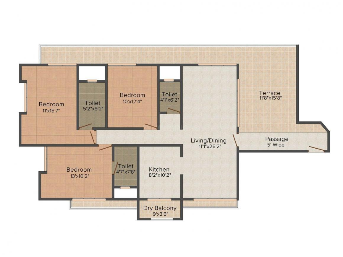 Floor Plan Image of 1006.0 - 1812.0 Sq.ft 2 BHK Apartment for buy in Mittal Imperium