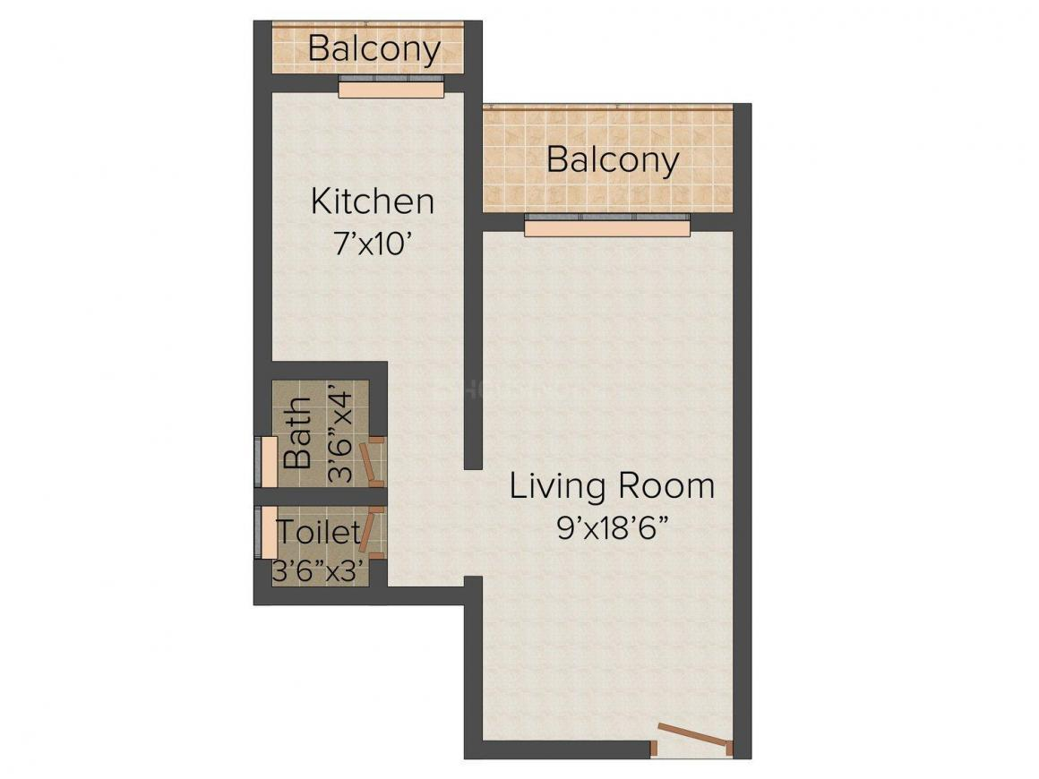 Floor Plan Image of 306 - 354 Sq.ft 1 RK Apartment for buy in M W Sai Shruti Park