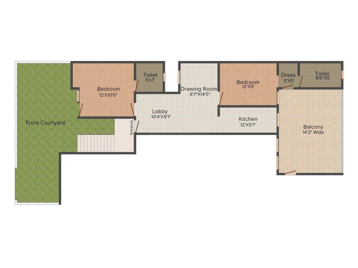 Karan Builder Floor-2 Floor Plan: 2 BHK Unit with Built up area of 750 sq.ft 1