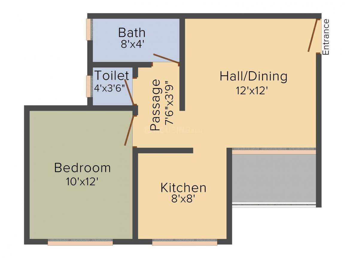 Floor Plan Image of 0 - 663.0 Sq.ft 1 BHK Apartment for buy in Gayatri Residency