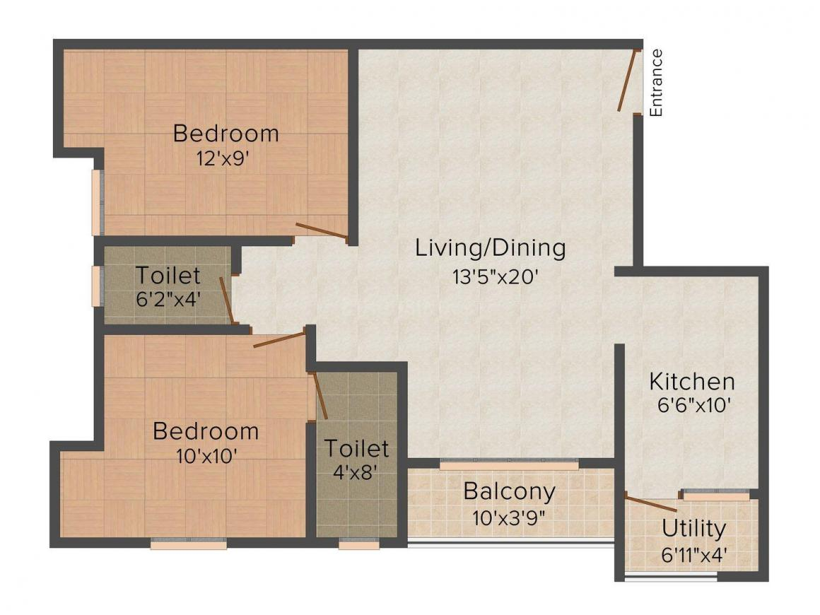 Marutham Icon Floor Plan: 2 BHK Unit with Built up area of 981 sq.ft 1