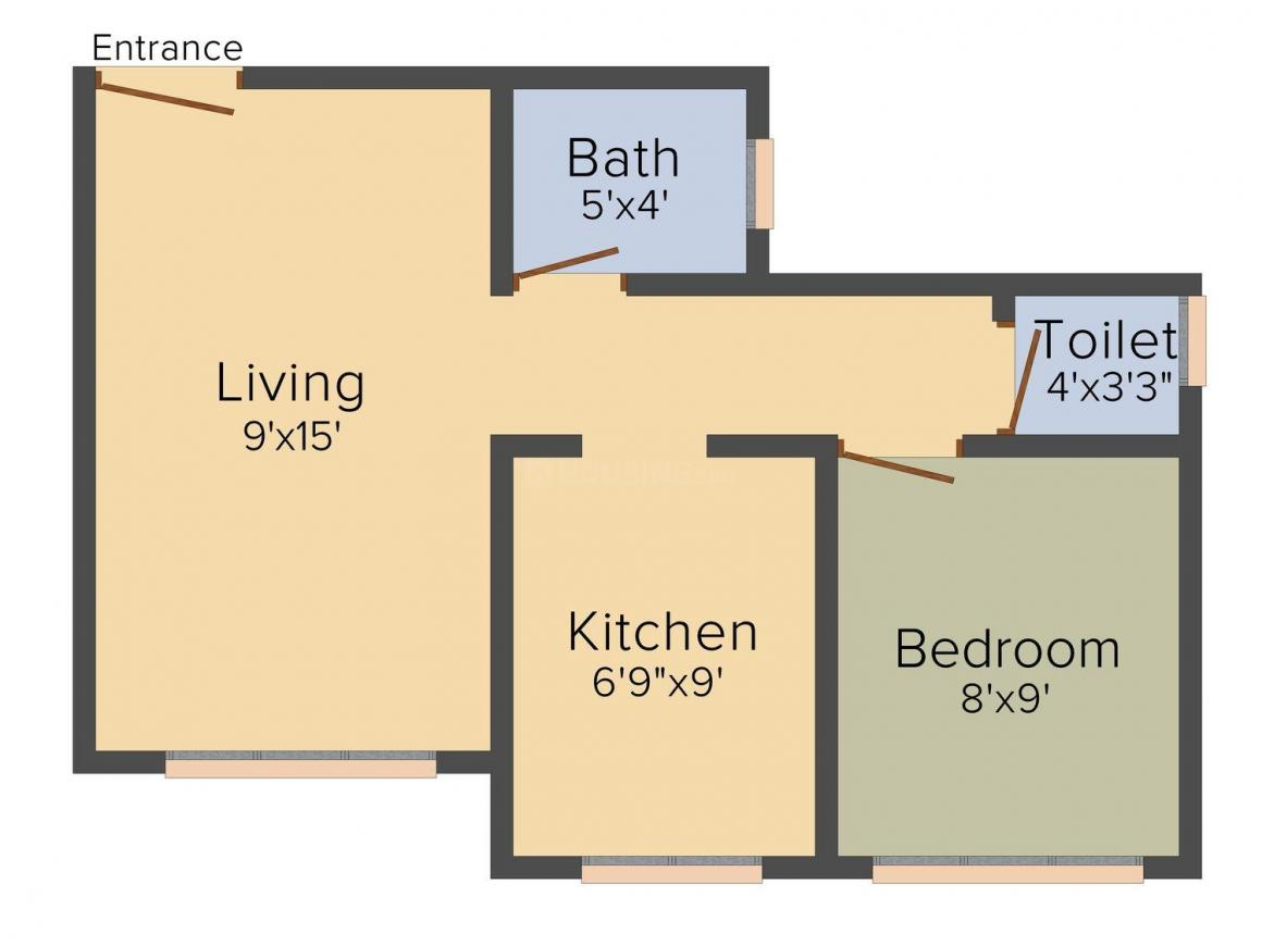 Floor Plan Image of 0 - 600.0 Sq.ft 1 BHK Apartment for buy in Gurunath Tower