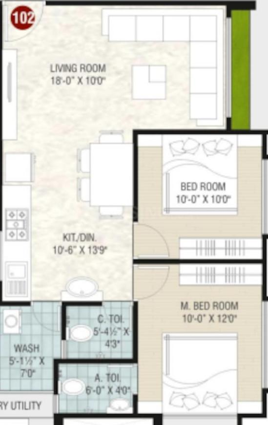 Varni Siddheshwar Heights Floor Plan: 2 BHK Unit with Built up area of 597 sq.ft 1