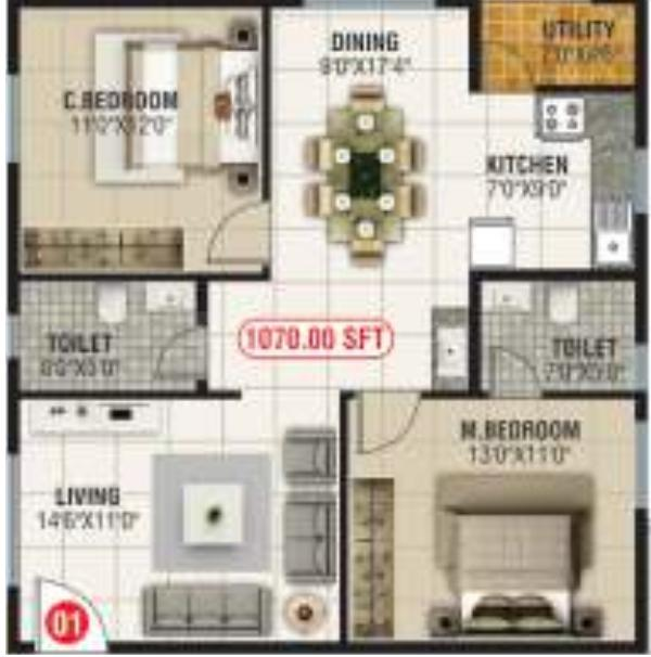 SBB Sapphire Floor Plan: 2 BHK Unit with Built up area of 1070 sq.ft 1