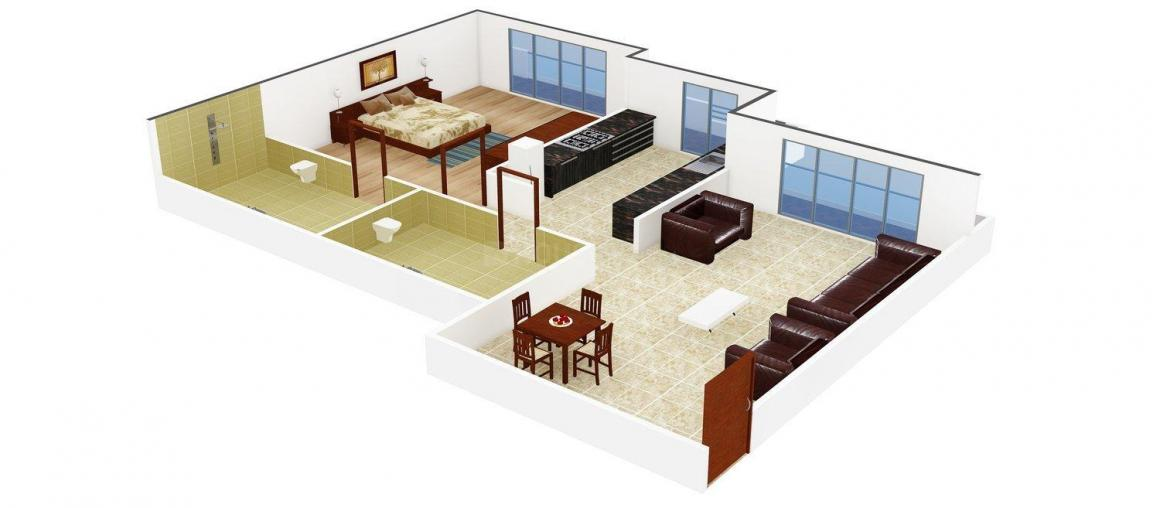 Floor Plan Image of 0 - 685.0 Sq.ft 1 BHK Apartment for buy in United Matheran Green