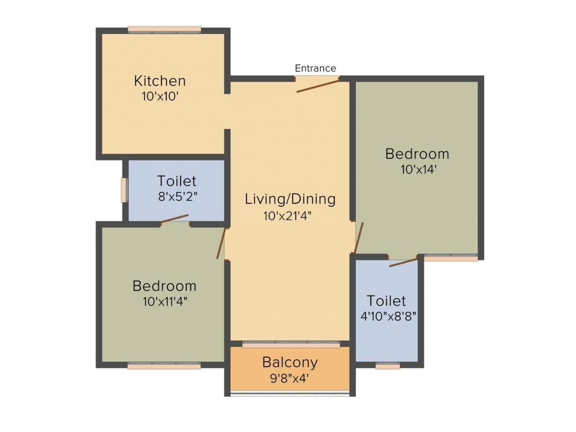 Etica Developers Kalathmika Floor Plan: 2 BHK Unit with Built up area of 1015 sq.ft 1