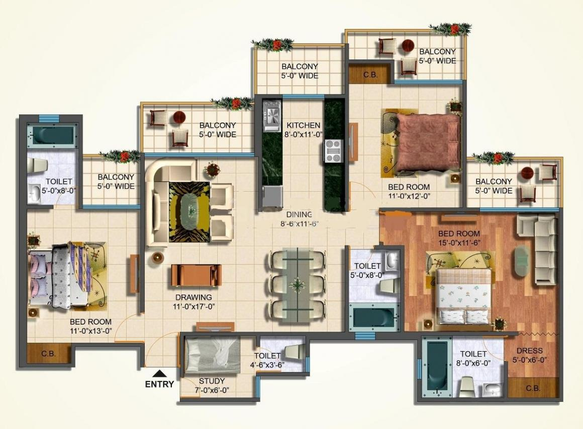 JM Aroma Floor Plan: 3 BHK Unit with Built up area of 1850 sq.ft 1