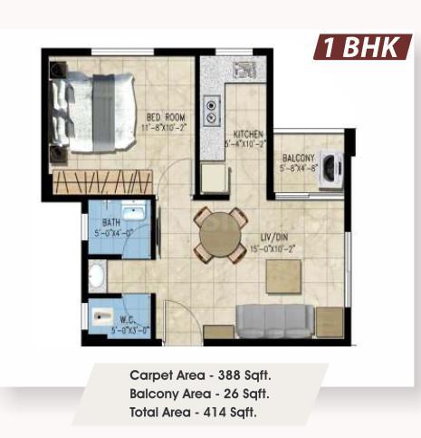 Avinash Vatika Floor Plan: 1 BHK Unit with Built up area of 388 sq.ft 1